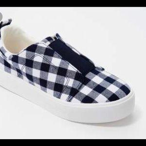 Isaac Mizrahi Live Navy Canvas Gingham Sneaker 10